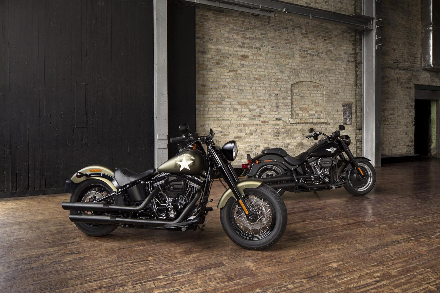 2016 Harley-Davidson Softail Slim S (foreground) and Fat Boy S (background)