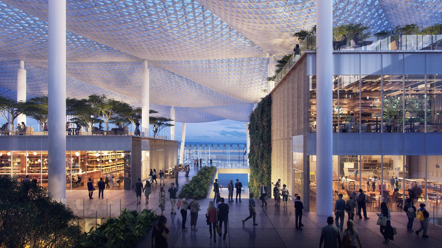 Jiuzhou Bay's canopies will include integrated solar panels and rainwater collection