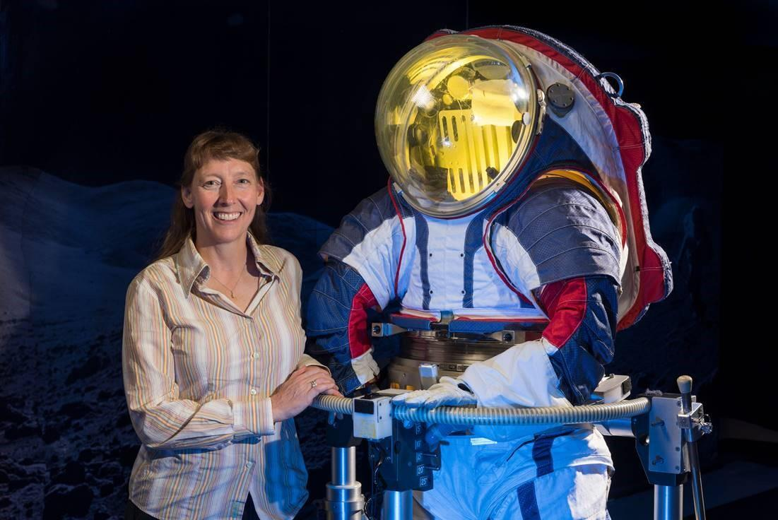 Advanced spacesuit designer Amy Ross pictured next to the Z-2 prototype EMU