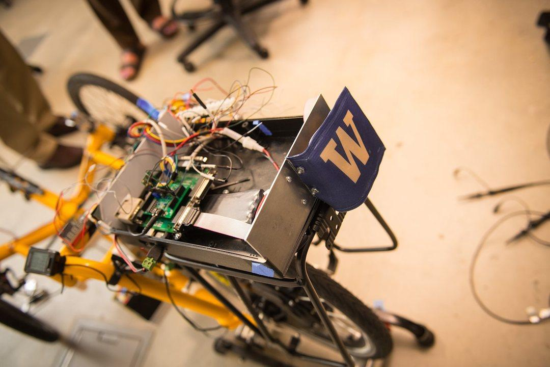 Another model of self-driving trike the team experimented with, this one still containingaseat