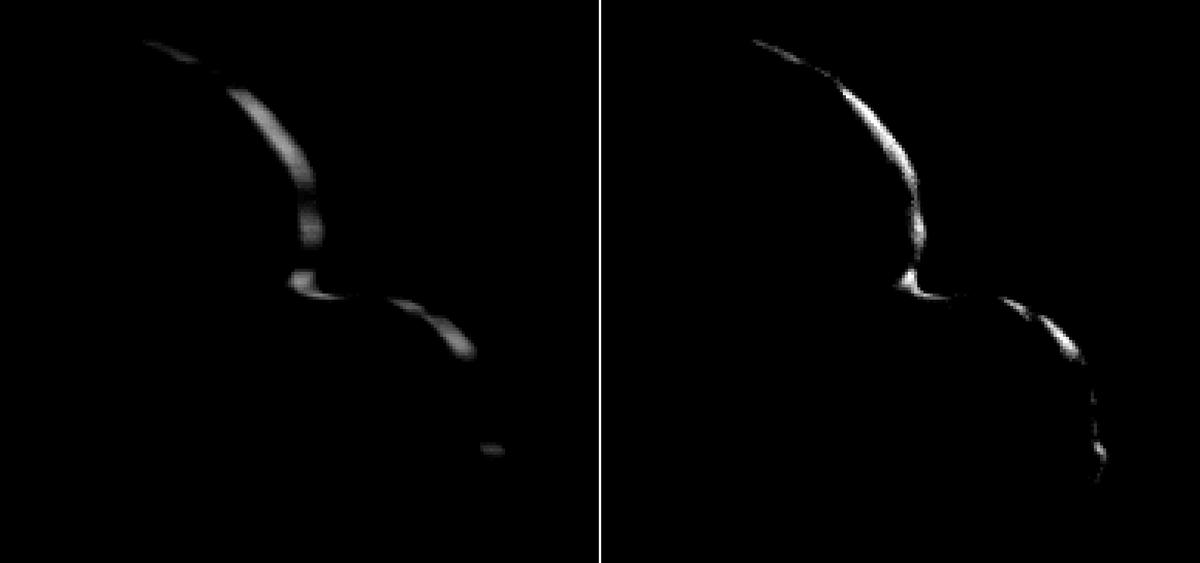As it sped away from the object,New Horizons was able to see the crescent of light behind Ultima Thule, and noticed how sharp it was