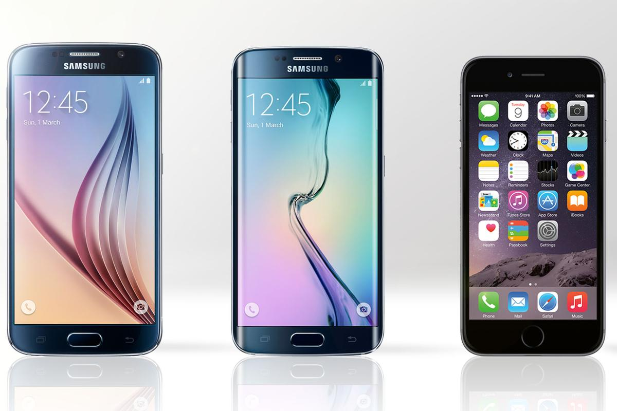 Gizmag compares the features and specs of the Samsung Galaxy S6 (left), Galaxy S6 edge (middle) and iPhone 6