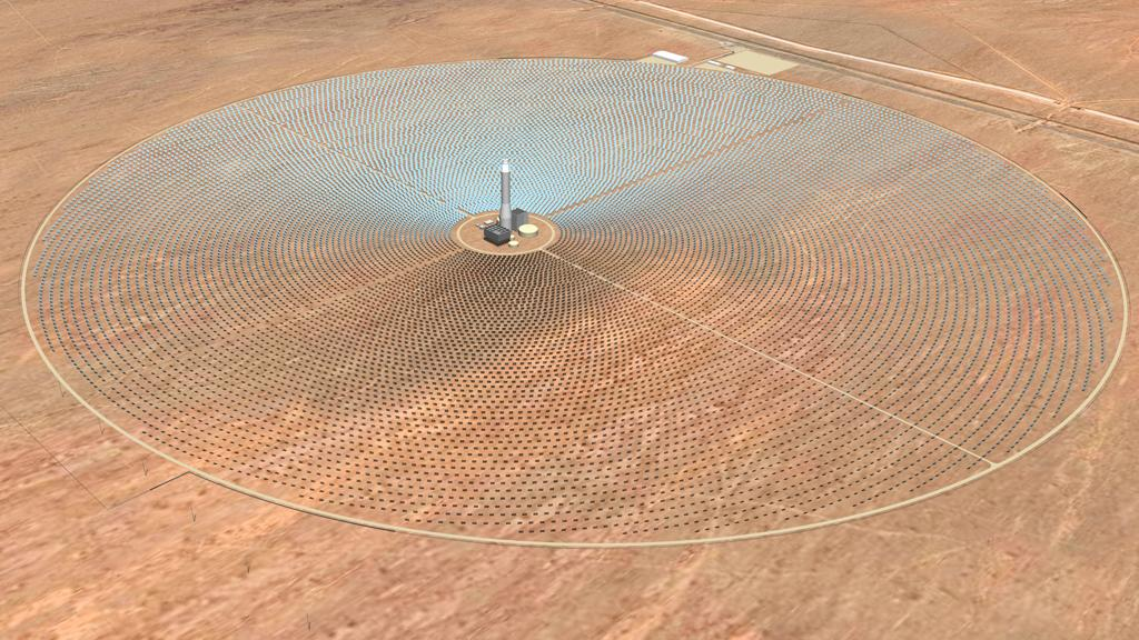 Artist's impression of SolarReserve's Concentrated Solar Power Tower plant