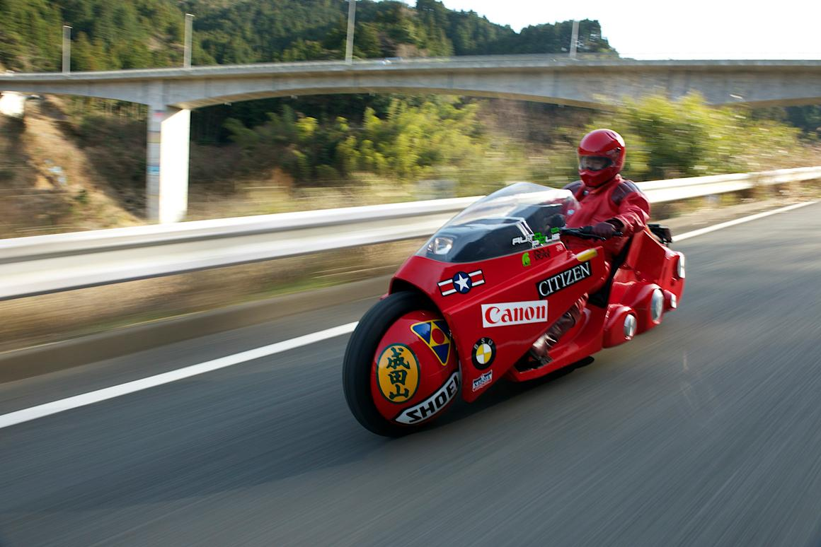 A movie-accurate replica of the motorcycle from the classic film Akira recently toured Japan to raise money for charity