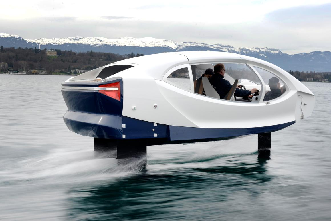 Top speed of the production boat while hydrofoiling will be around 20 knots, or 23 mph