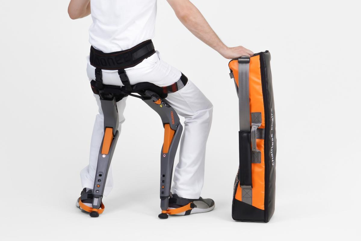 The Noonee Chairless Chair supports better posture and offers a quick sit whenever the wearer needs