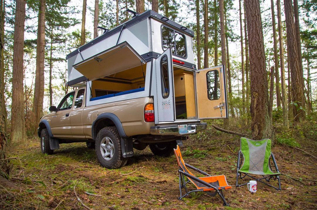 Hiatus truck camper unfolds into roomy hard-walled penthouse