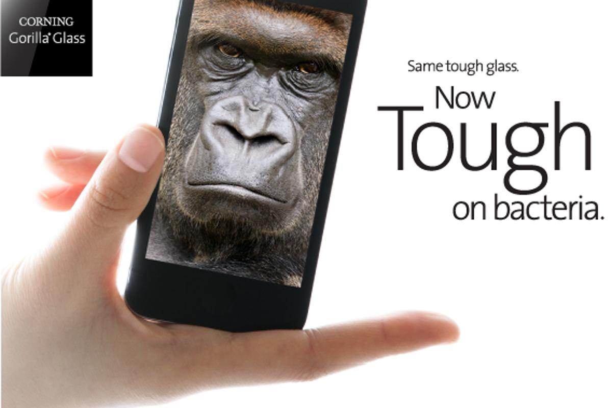 Antimicrobial Corning Gorilla Glass is claimed to kill up to 99.9 percent of bacterial populations on its surface