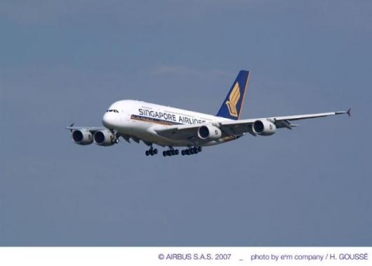Singapore Airlines' first A380 was delivered at Airbus' Toulouse, France facility on 15 October 2007
