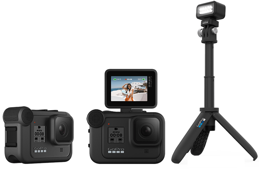 GoPro will release three modules for the Hero8 Black in December, which add extra audio capabilities, and flip-up display and a lighting mod