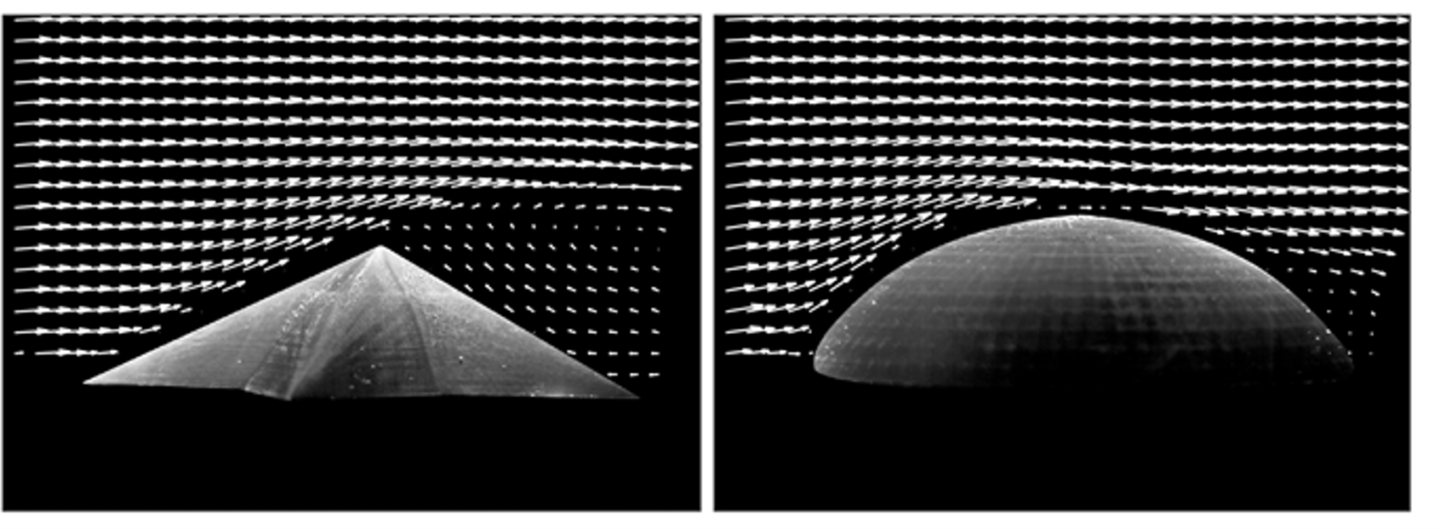 The water flow around a starfish-shaped model (left) versus a spherical dome – computer simulations showed a similar effect
