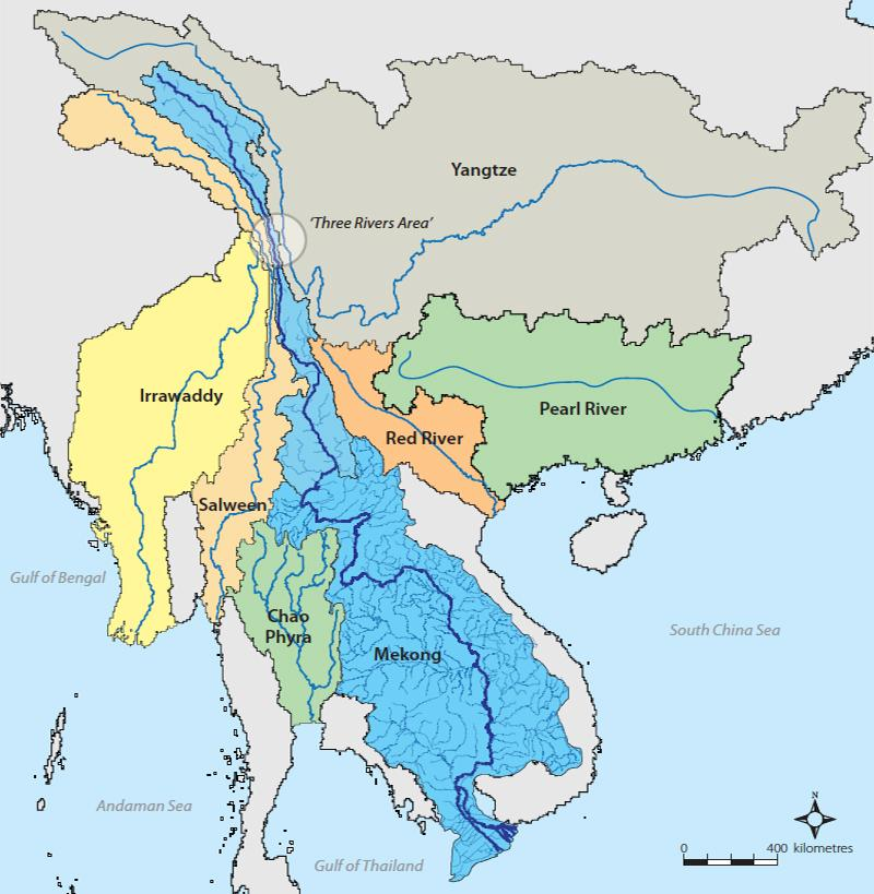 """The Mekong rises like many other great rivers in the """"Roof of the World"""", the Tibetan Plateau. It stretches 4,350 km (2,703 miles), running through China, Myanmar, Laos, Thailand, Cambodia and finally exiting to the South China Sea in Vietnam through a network of distributaries. The Mekong Delta is a """"biological treasure trove"""""""