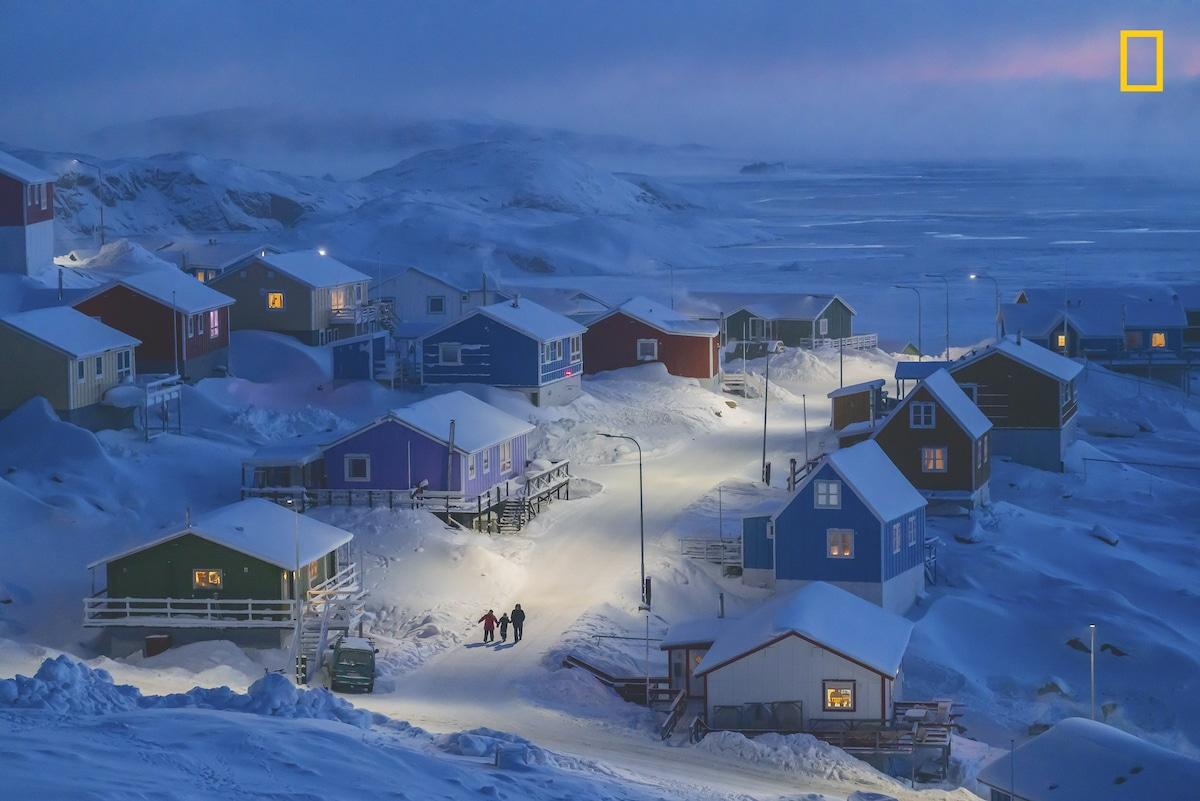 "Grand Prize winner / 1st Place - Cities in the 2019 National Geographic Travel Photo Contest. ""Upernavik is a fishing village on a tiny island in west Greenland."""