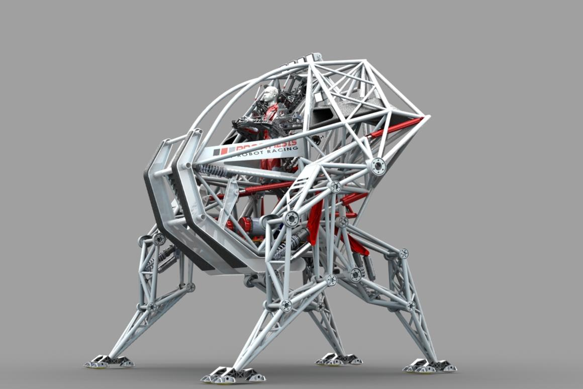 A rendering of Prosthesis the Anti-Robot – ready to race (Image: Anti-Robot)