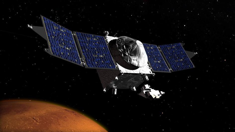 Artist's impression of MAVEN orbiting the Red Planet (Image: NASA's Goddard Space Flight Center)