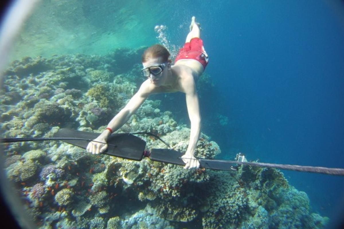 """The Subwing is a device that is towed behind a boat, allowing the rider to """"fly"""" underwater"""