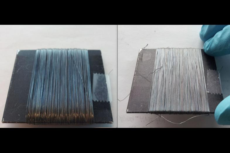 Rope filament treated with the coating permanently changes from blue to white at a temperature of 150º C (302º F)