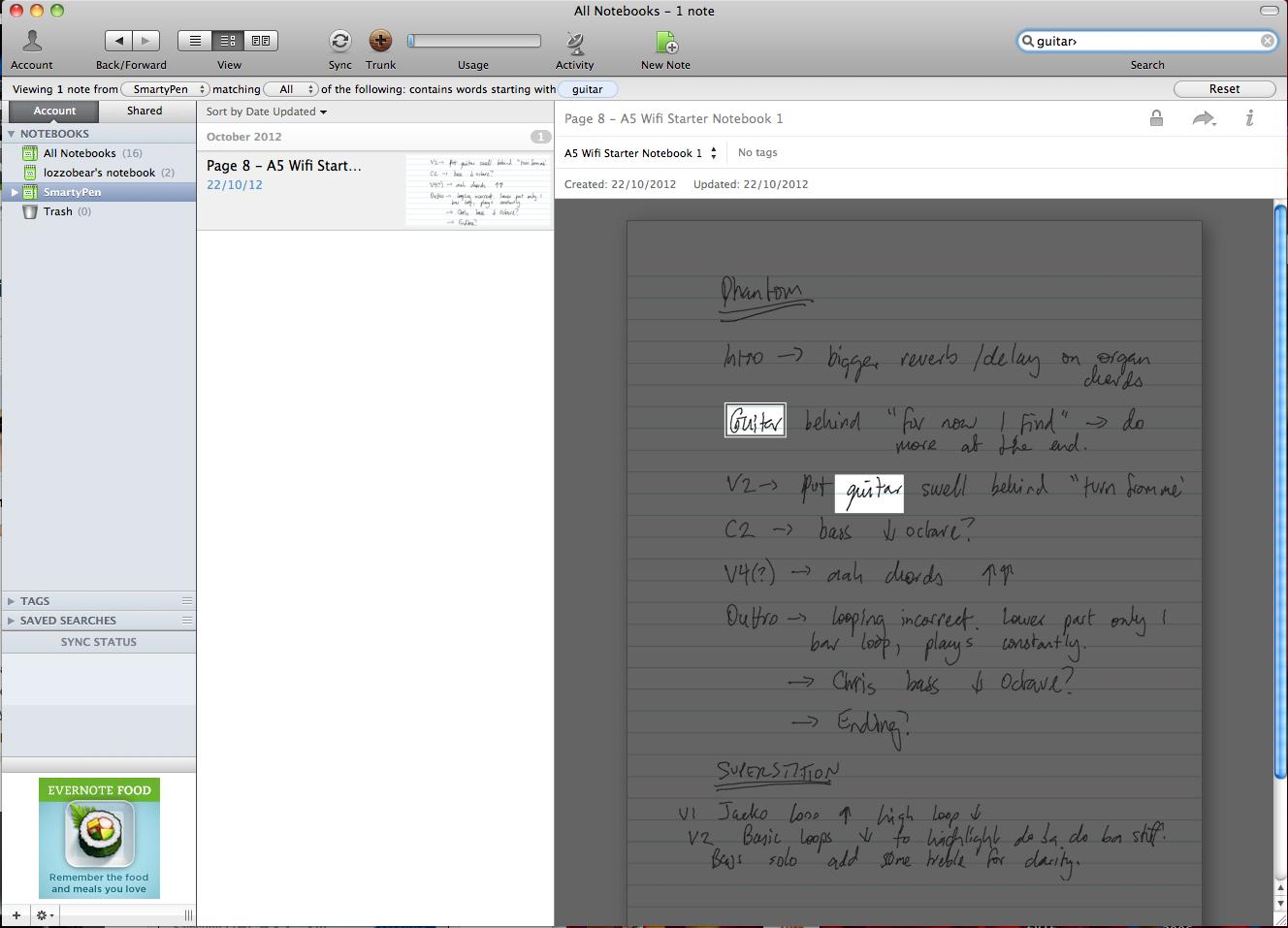 Evernote can search for text strings in your handwritten notes: scary stuff