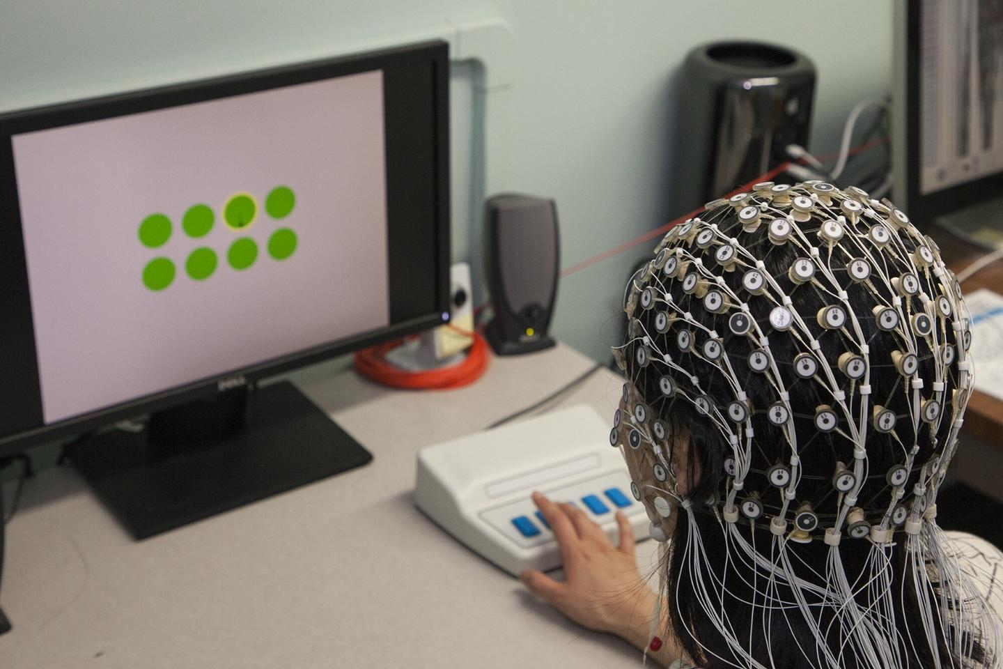 A subject undergoing a boredom induction task while having their brainwaves monitored