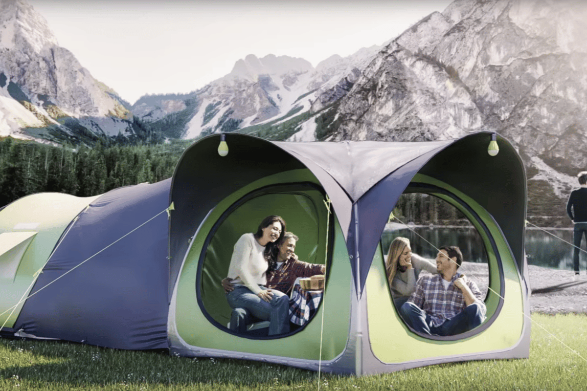For Cinch's 2018 lineup ofpop-up tents, the company has unveiled the Cinch Hub, designed as a portable living room that can connect to the rest of the tents