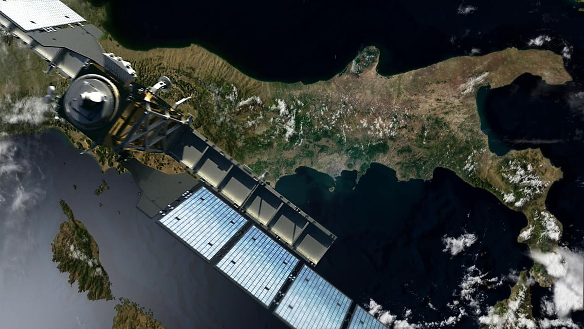 Artist's impression of Sentinel-1A, which is now operational, over Italy (Image: ESA/DLR)