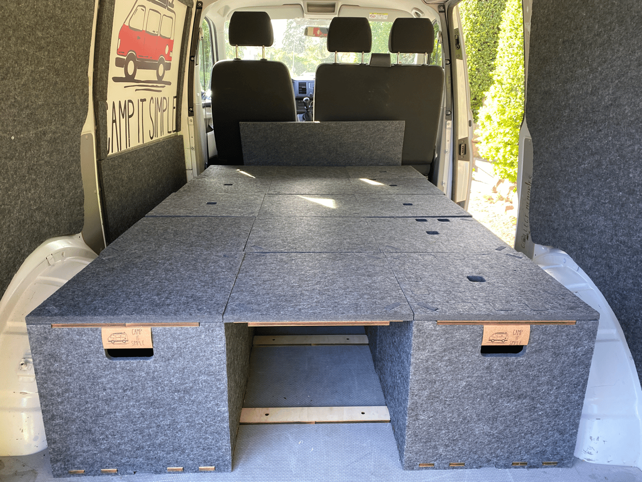 Camp it Simple makes a bed out of storage boxes