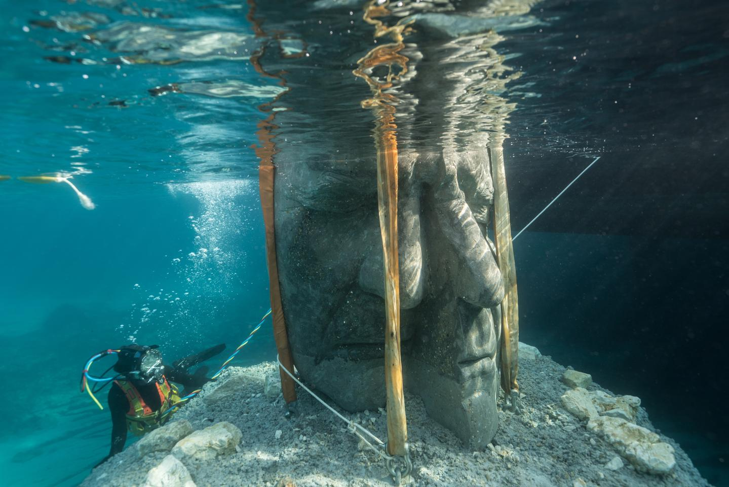 The Underwater Museum of Cannes sculptures are installed at a depth of up to 3 m (9.8 ft)