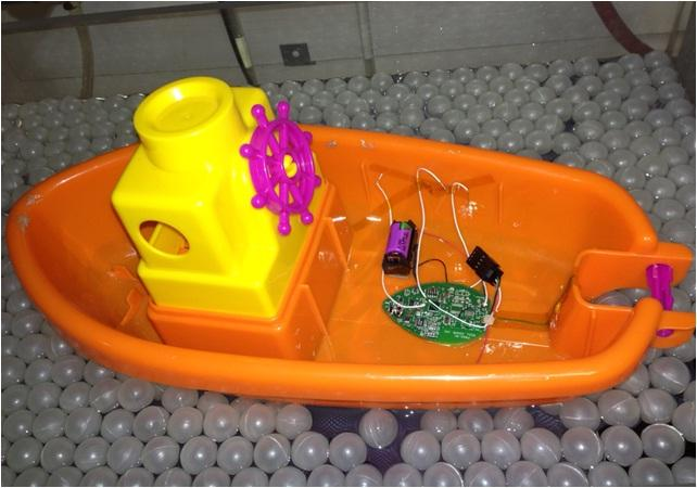 A functioning ReelSonar prototype – the finished product wouldn't actually look like a little boat