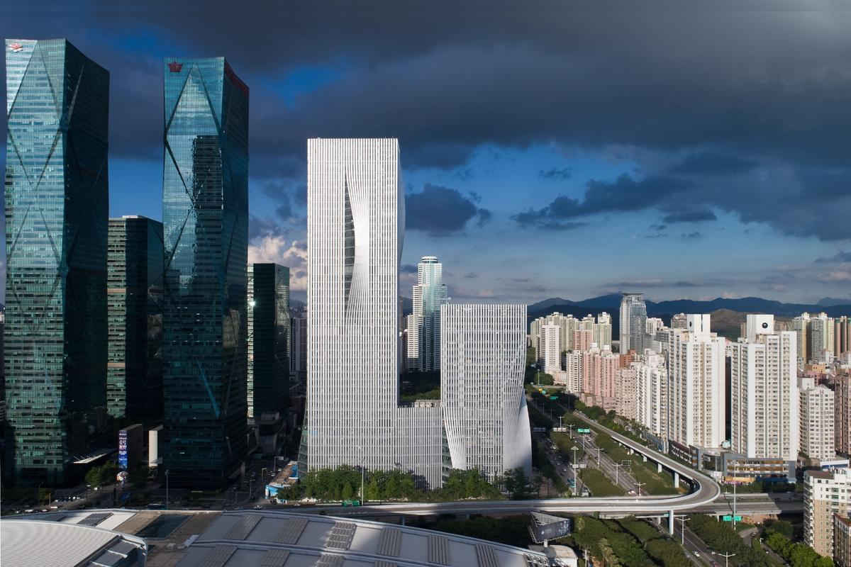 The Shenzhen Energy Mansion consists of two towers, one rising to 120 m (393ft)-tall and the other reaching 220 m (721 ft)