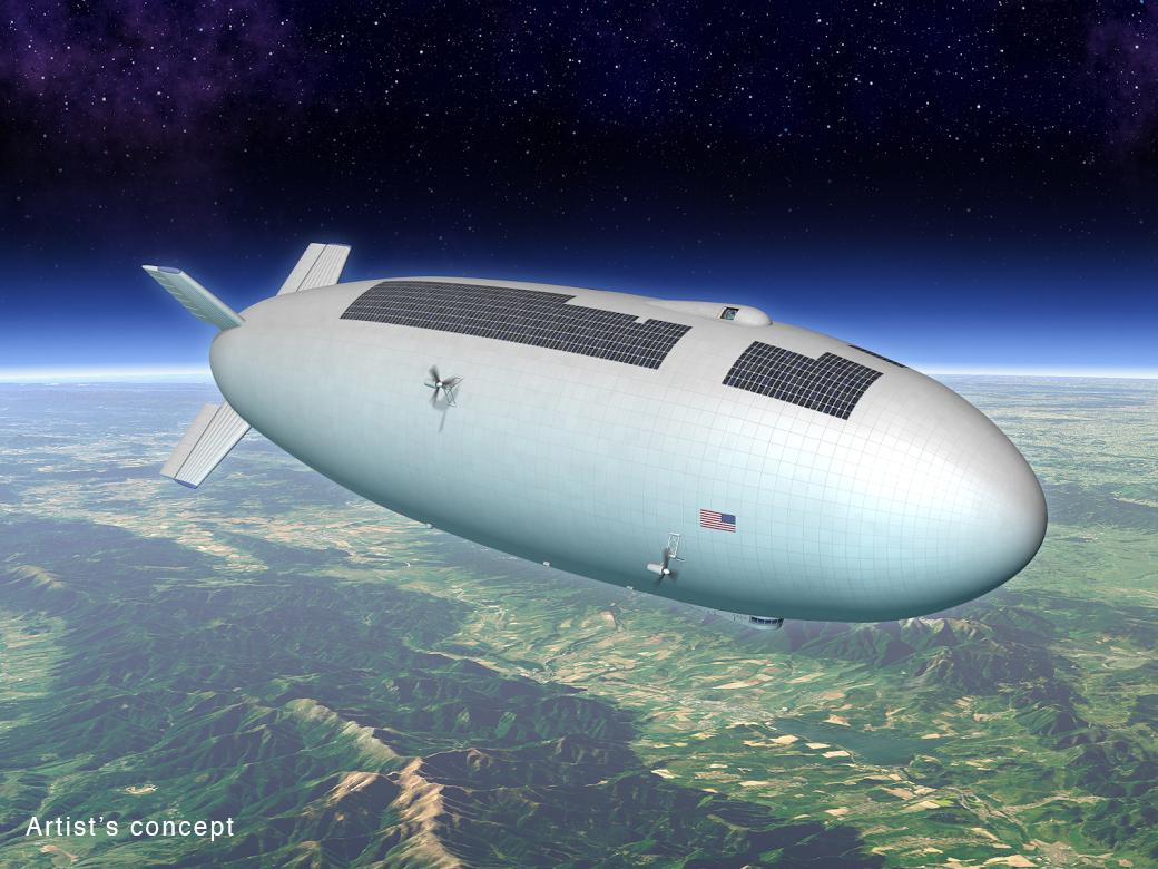 Artist's concept of NASA airship (Image: M. Hughes/Eagre Interactive/Keck Institute for Space Studies)