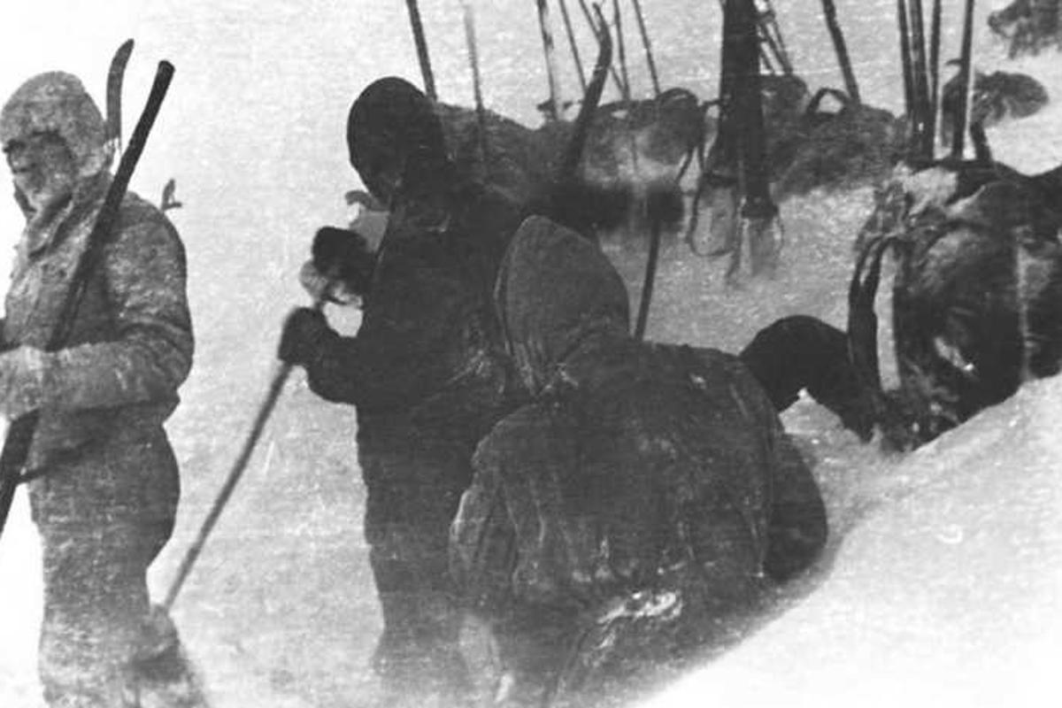 The group preparing their tent before that fateful night in 1959