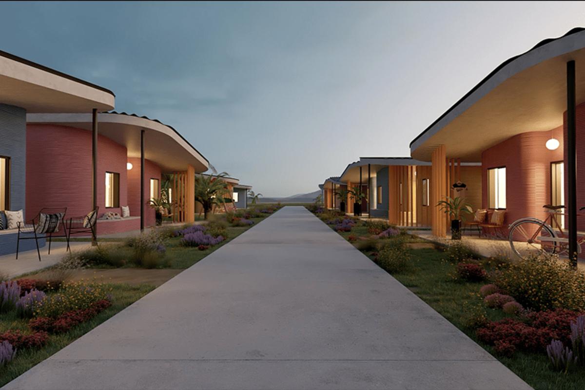 Render of what the 3D-printed neighborhood might look like