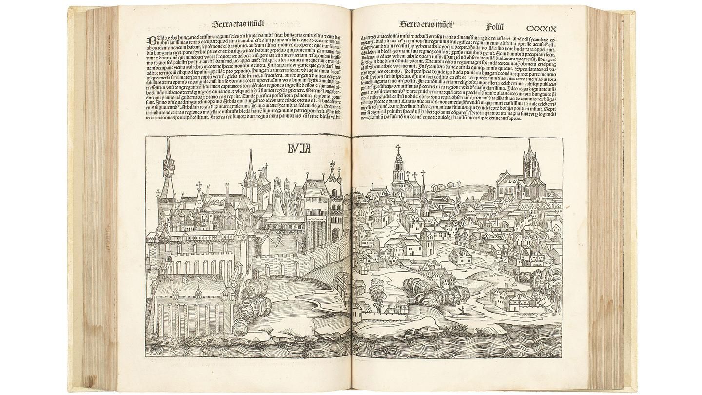 Less than 1500 copies of the Liber chronicarum (Nuremberg Chronicle) were printed in Latin in July, 1493 with roughly 400 believed to have survived the subsequent 500 years.