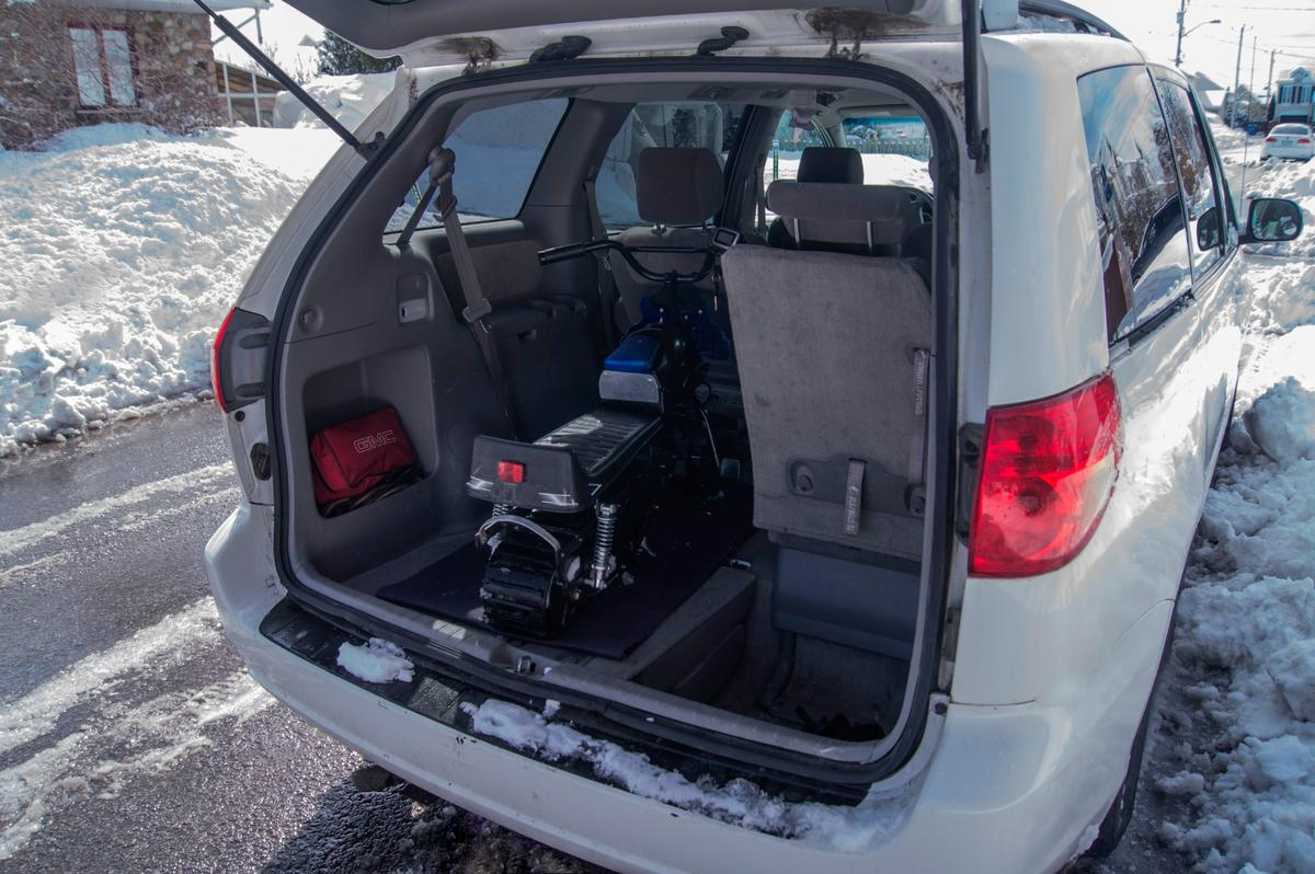 The Naseka can be transported in the back of a minivan or SUV