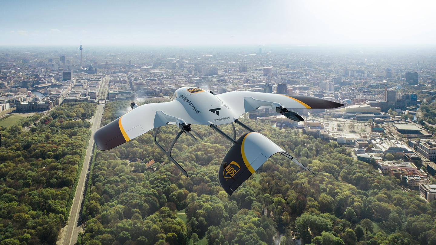 Wingcopter drones have a range of 75 miles per charge, can get up to 150 mph and withstand 44 mph winds