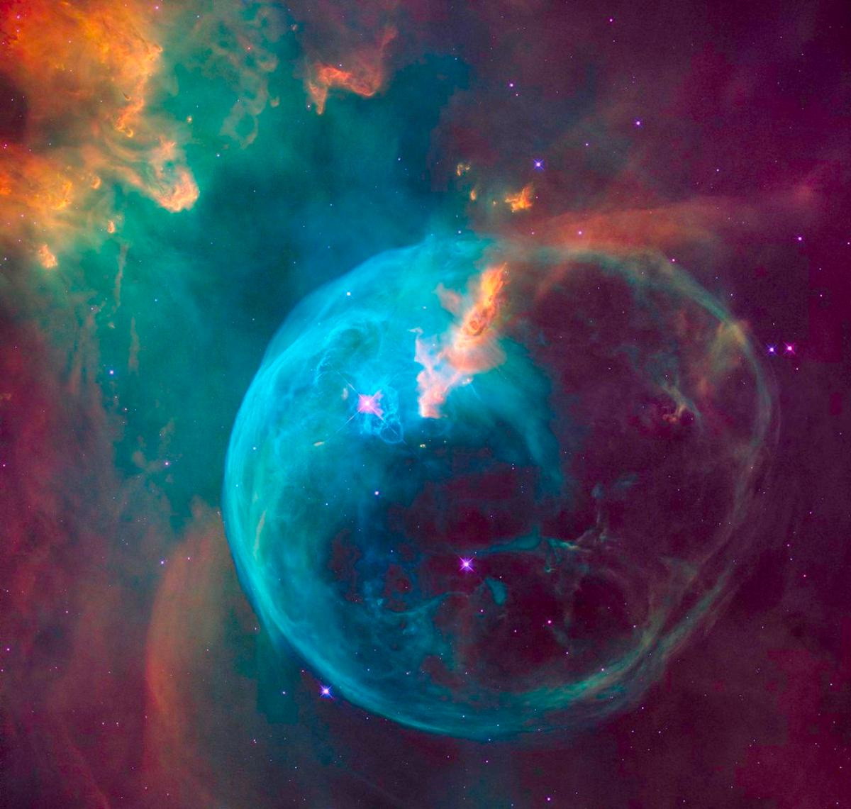 Hubble imaged the nebula in the visible light spectrum