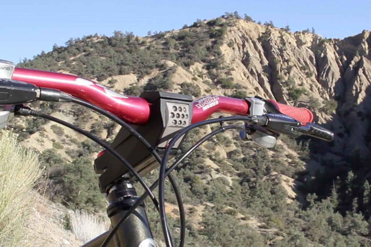 The StemLite is a bicycle handlebar stem with a built-in 500-lumen headlight
