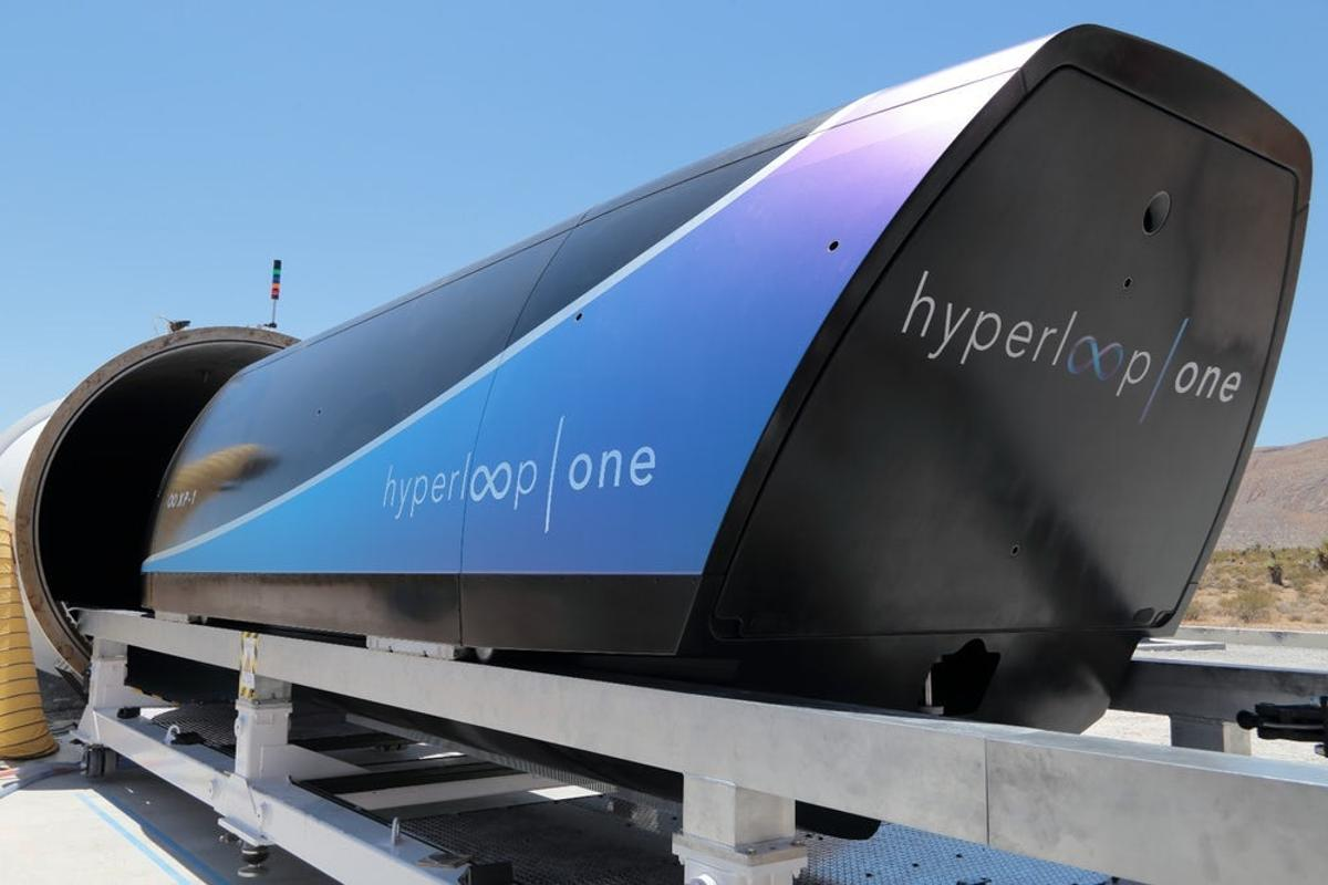 Hyperloop One's prototype pod at its test facility in the Nevada desert