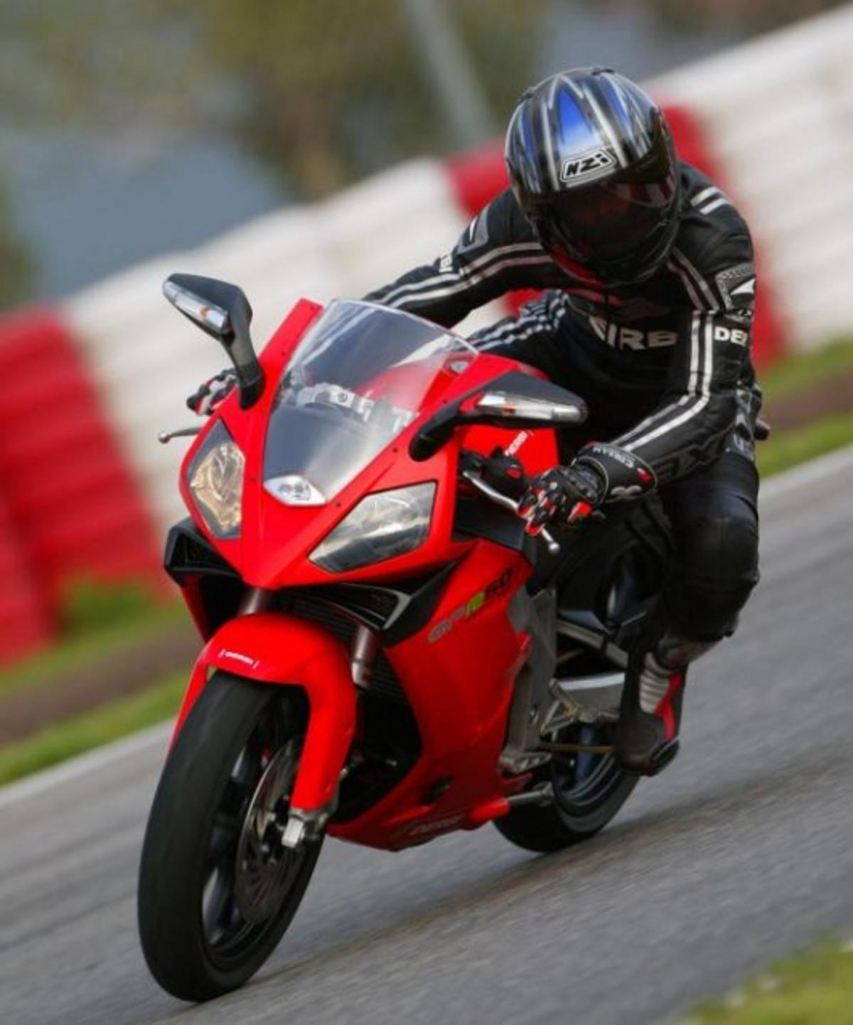 The petrol-engined Derbi on the racetrack