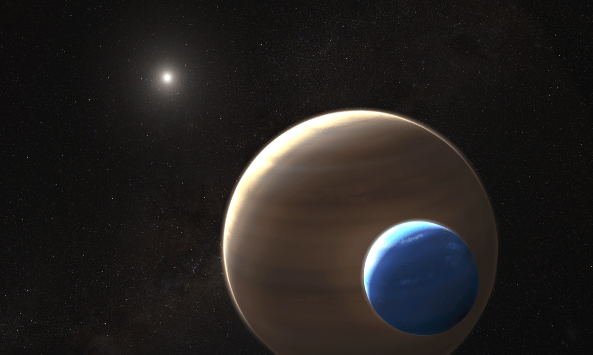 An artist's impression of the exomoon which may have been discovered orbiting the distant planet Kepler 1625b