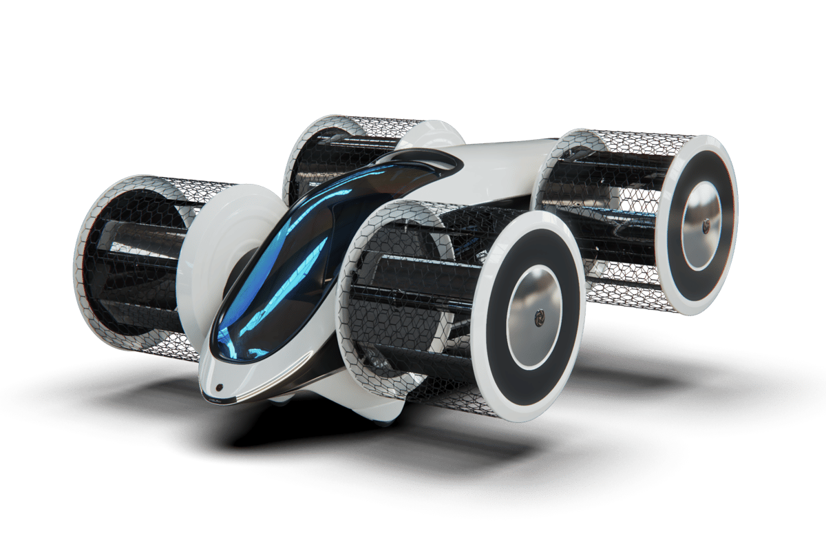The Cyclocar will carry six people, or up to 600 kg of cargo, up to 500 km (310 miles) thanks to a hybrid powertrain and that unconventional propulsion system