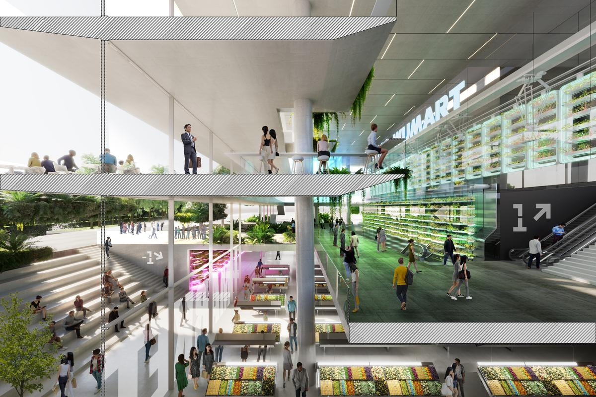 Most of the Jian Mu Tower's interior would be given over to office space, but it would also include a supermarket and food court