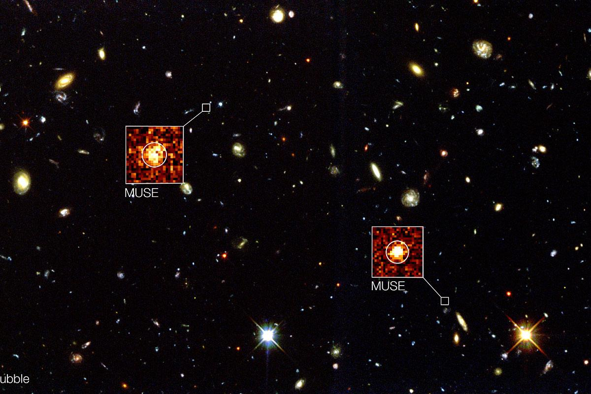 MUSE documented over 20 celestial objects missed by Hubble's Deep Field South survey (Image: ESO)