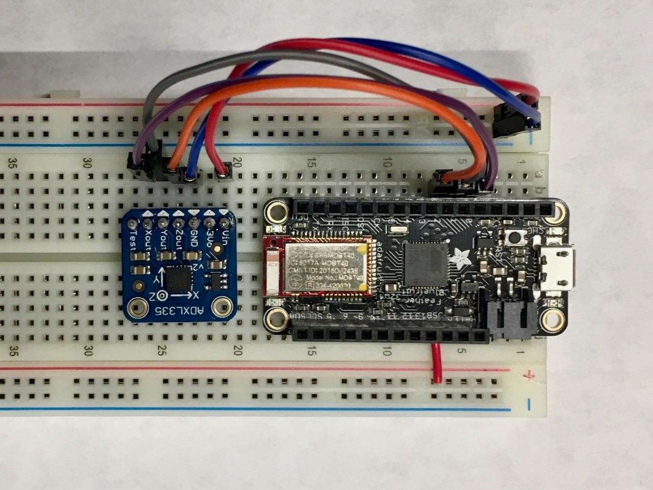 Breadboarding an Arduino and an analog accelerometer for the 60 day Nod Bang project