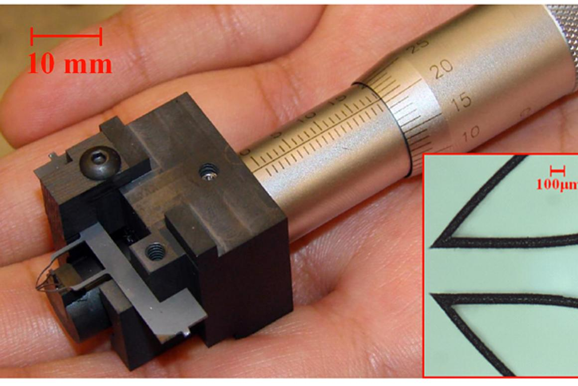 The Purdue microtweezers, which are said to be less expensive to produce than conventional devices, and easier to use
