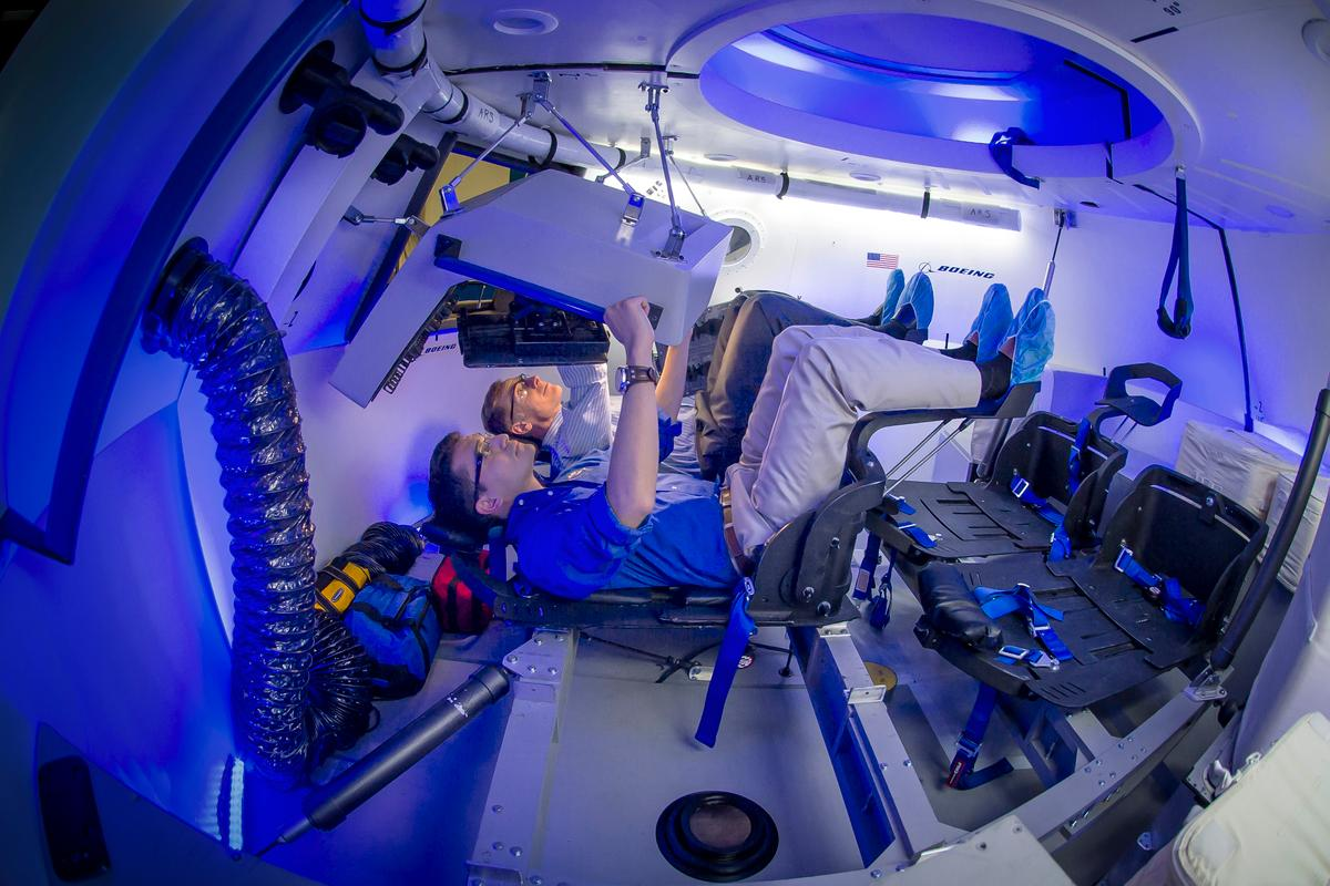 An engineering mock-up of the CST-100 interior