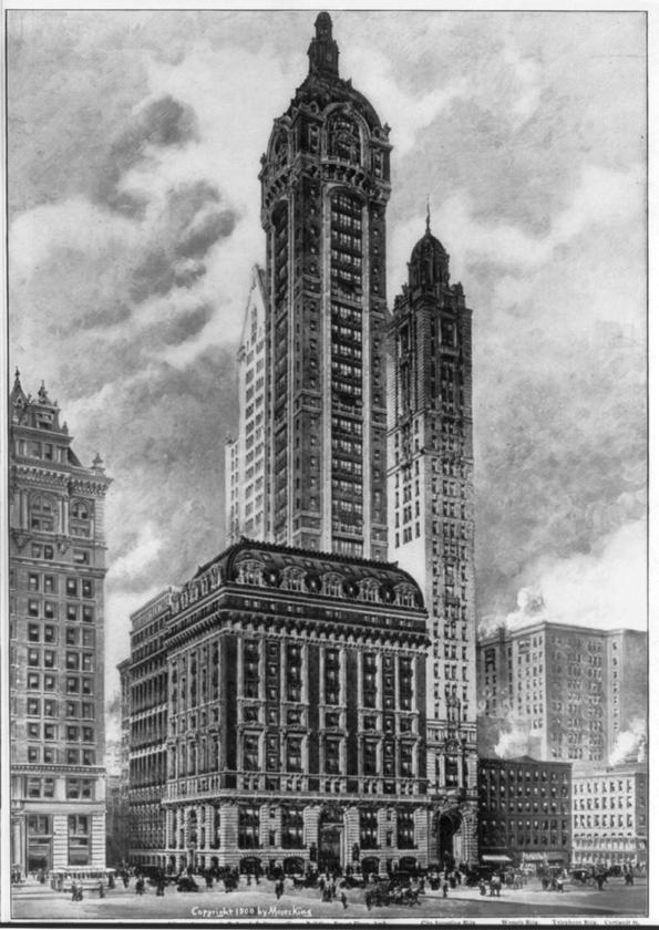 A 1909 drawing of the Singer Building in New York, the tallest building to ever be peacefully demolished
