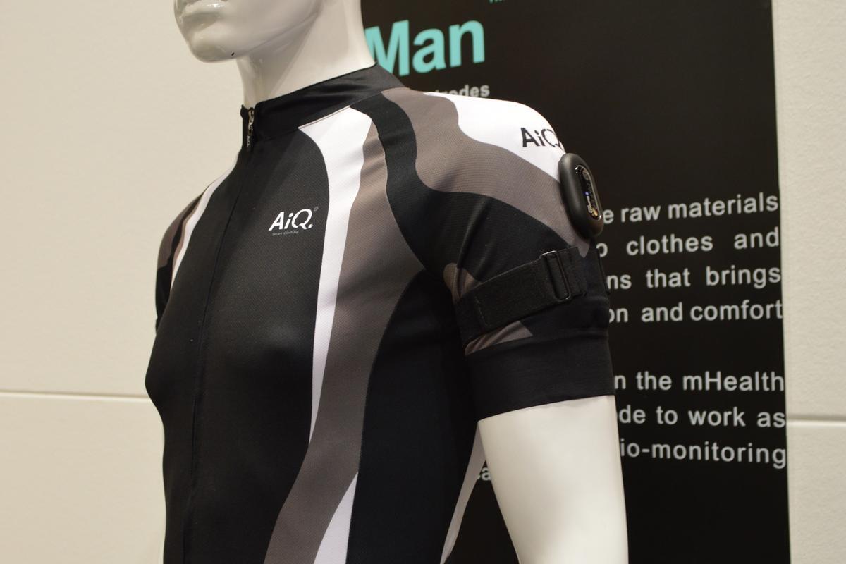 AiQ's BioMan fabric monitors vital signs such as heart rate, respiration and skin temperature