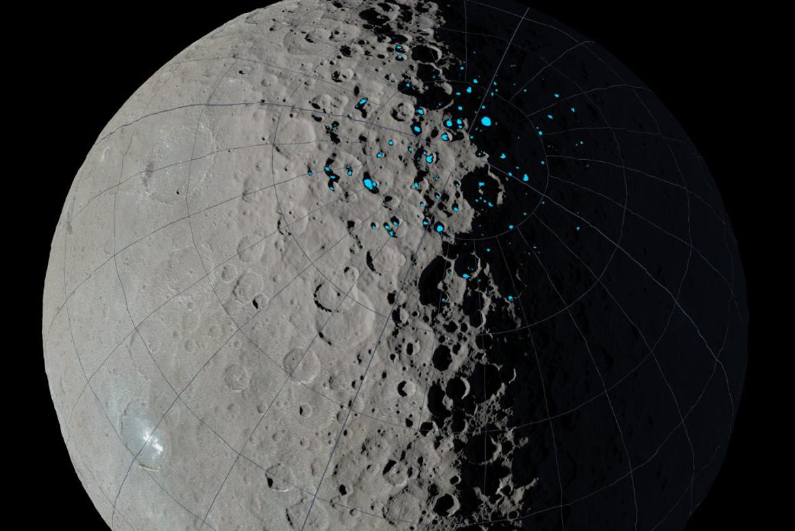Scientists used sophisticated computer simulations to determine the likely locations for water ice deposits on Ceres