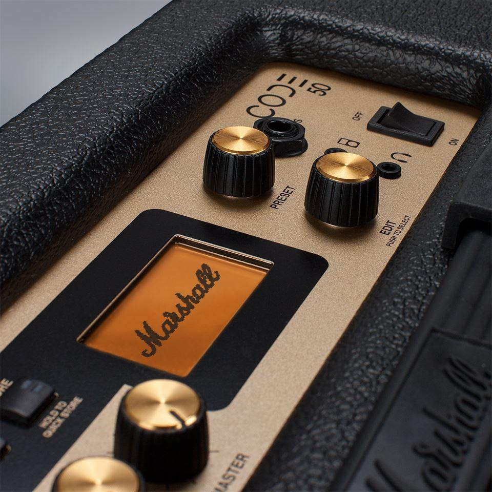 The combo Code amps have EQ, gain, volume, pre-FX, amp, power and cab controls to the top